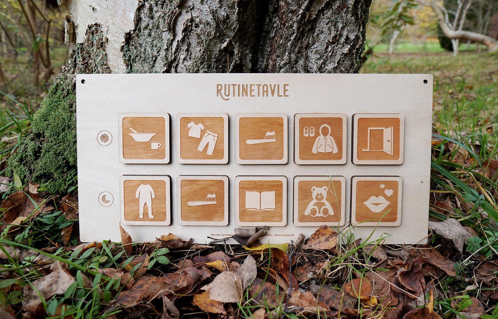 Rutinetavlen er en piktogram tavle til børns rutiner morgen og aften